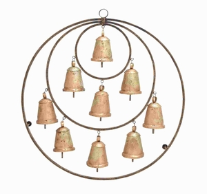 Metal Bell Plaque 3 Circles with 9 Bells and Attached with Hook Brand Woodland