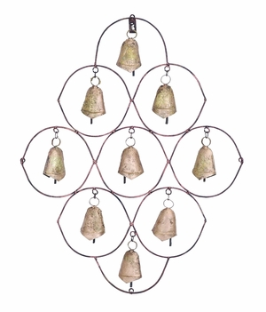 Metal Bell Wall Plaque with 9 Bells Design Brand Woodland