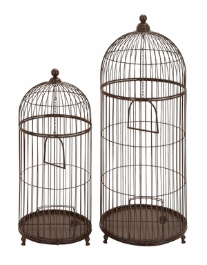 Metal Bird Cage Set/2 With Removable Base Upgrades Garden Decor Brand Woodland