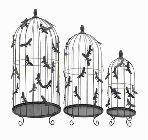 Metal Bird Cage with Metal Butterflies All Over Cage (Set of 3) Brand Woodland