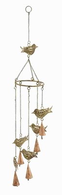 Metal Bird Wind Chime Elegant Designs With 5 Hanging Bells - 26787 by Benzara
