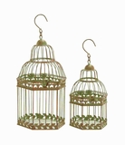 Metal Birdcages in Gold Antique Polish Floral Pattern (Set of 2) Brand Woodland