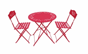 Metal Bistro Set with Two Chairs - Red by Alpine Corp