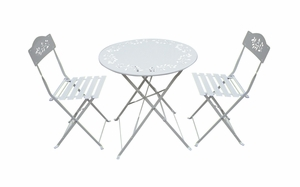 Metal Bistro Set with Two Chairs - White by Alpine Corp