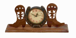 Metal Boot Clock in Copper and Antique Shades with Unique Design Brand Woodland