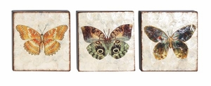 Metal Bottle 3 Assorted Wall Decor with Butterfly Design Brand Woodland