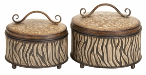 Metal Box in Brown Finish with Animal Print Design -set of 2 Brand Woodland
