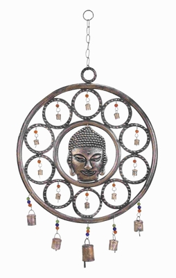 Metal Buddha Wind Chime With Mix Of Art And Spirituality - 26757 by Benzara