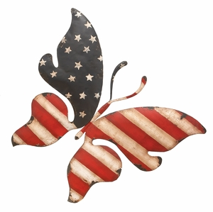 Metal Butterfly Flag Wall Decor in the American Flag Color Brand Woodland