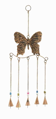 Metal Butterfly Wind Chime in Attractive Antique Brass Finish Brand Woodland