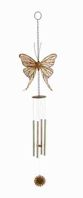 Metal Butterfly Wind Chime in Bronze Finish with Elegant Design Brand Woodland