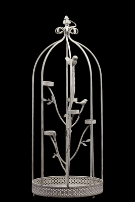 Metal Cage w/ Five Candle Holder & Two Metal Birds