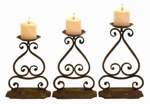 Metal Candle Hold with Elegant Design and Structure (Set of 3) Brand Woodland