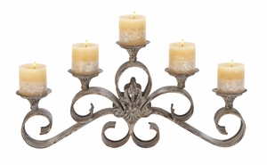 Metal Candle Holder For Five Candles In Shabby Brown Finish Brand Woodland