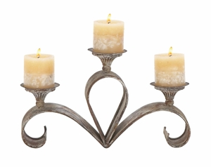 Metal Candle Holder For Three Candles With Cone Shape Trays Brand Woodland