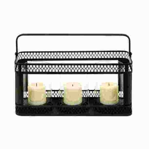 Metal Candle Holder in Black Finish with Sturdy Construction Brand Woodland