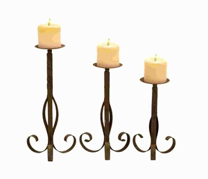 Metal Candle Holder Simple & Exuding an Elegant Effect (Set of 3) Brand Woodland