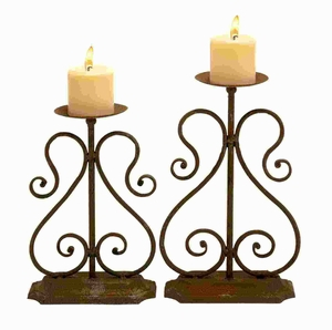 Metal Candle Holder with Simple and Stylish Design (Set of 2) Brand Woodland