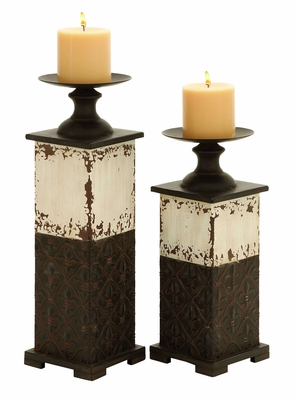 Metal Candle Holder with Traditional Design - Set of 2 Brand Woodland
