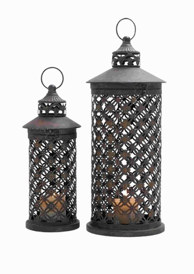 Metal Candle Lantern with Intricate Details (Set of 2) Brand Woodland