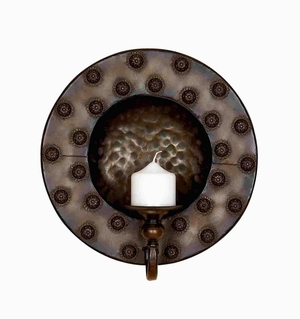 Metal Candle Sconce Designed with Circular Spots in Dark Shade Brand Woodland