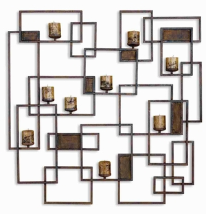 Metal Candlelight Candle Holder Wall Sculpture In Brown Finish Brand Uttermost