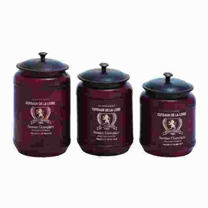 Metal Canisters in Red Shade with Transitional Style (Set of 3) Brand Woodland