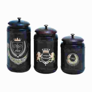 Metal Canisters with Cylindrical Jars & Matching Lids (Set of 3) Brand Woodland