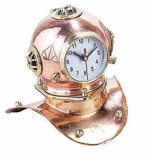 Metal Cap Diving Helmet Clock in Copper Finish with Modern Design Brand Woodland