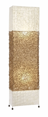 Metal Capes Rattan Floor Lamp With Beautiful Brown Color Net Brand Woodland
