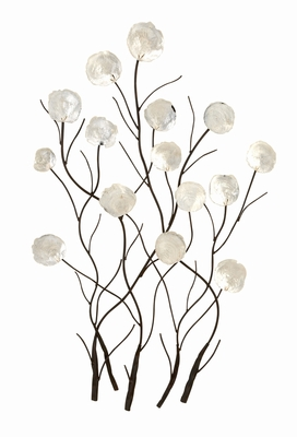 Metal Capiz Wall Decor in Shiny Glimmer with Dainty Design Brand Woodland