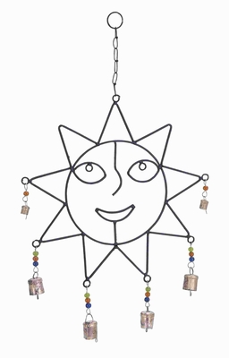Metal Captivatingly Crafted Wind Chime with Sculpted Sun Face Brand Woodland