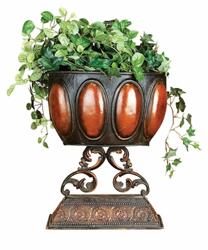Metal Carved Planter in Brown Finish with Meticulous Design Brand Woodland