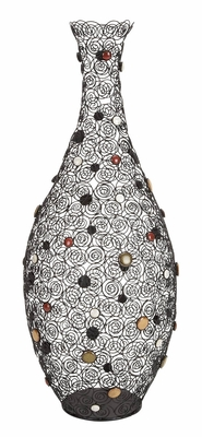 Metal Ceramic Vase with Decorative Beads, 35 Inch Height, 14 Inch Wide Brand Woodland