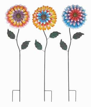 Metal Charming Garden Stake with Floral Motifs (Set of 3) Brand Woodland
