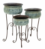 Metal Classic Planter with Scroll Detailing - Set of 3 Brand Woodland