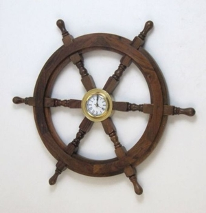 Metal Clock on Artistically Designed Wooden Ship Wheel by IOTC