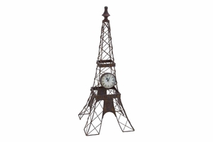 Metal Clock on Eiffel Tower, 25 Inch Height, 10 Inch Width Brand Woodland