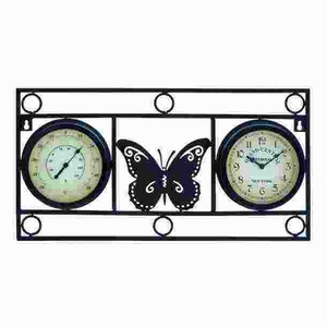 Metal Clock Thermometer with Bold Metal Butterfly Motif Brand Woodland