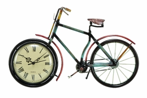 Metal Clock with Artistic Bicycle Design and Fine Detailing Brand Woodland