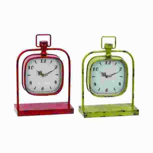 Metal Clock with Fusing Classic Design in Red & Yellow (Set of 2) Brand Woodland