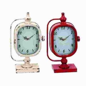 Metal Clock with Sturdy Construction in Worn Out Look (Set of 2) Brand Woodland