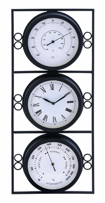 Metal Clock with Two Thermometer -Time And Temperature Brand Woodland