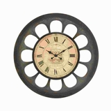 Metal Clock with Unique Design with Black Roman Numerals Brand Woodland