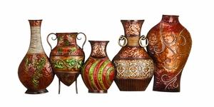 Metal Contemporary Vase Wall Decor in Sturdy Vibrant Colours Brand Woodland