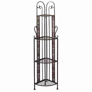 Metal Corner Rack with Rustic Design & Intricate Detailing Brand Woodland