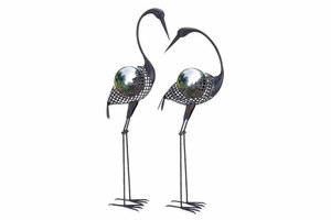 Metal Crane Decor - Whimsical Metal Cranes With Gazing Ball - Set of 2 Brand Woodland