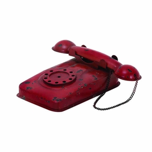 Metal Decor Phone With Antique Design, Elegance And Durability - 54430 by Benzara