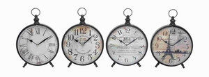Desk Clock with Round Face for Table 4 Assorted - 92203 by Benzara