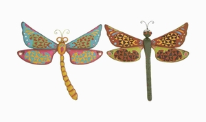Metal Dragonfly Assorted with Bright & Glowing Colors (Set of 2) Brand Woodland